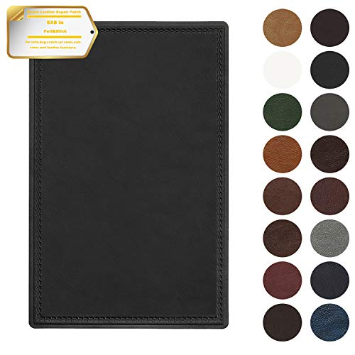 Leather Repair Patch Self-Adhesive Couch Patch Emboss Leather 5X8 inch for Sofas, Car Seats, Handbags, First Aid Patch(New Black)