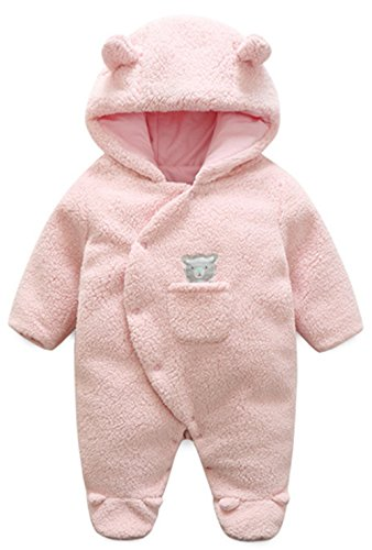 BANGELY Newborn Baby Winter Thicken Cartoon Sheep Snowsuit Warm Fleece Hoodie Romper Size 3-6 Months (Pink1)]()