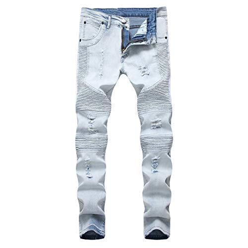 Boy's Light Blue Slim Moto Biker Skinny Ripped Distressed Stretch Fashion Fit Denim Jeans 14 (Fashion Ripped Jeans)