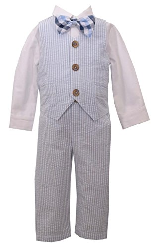 (Light Blue Seersucker Boy's 4Pc Suit Set, Size 12 Months)