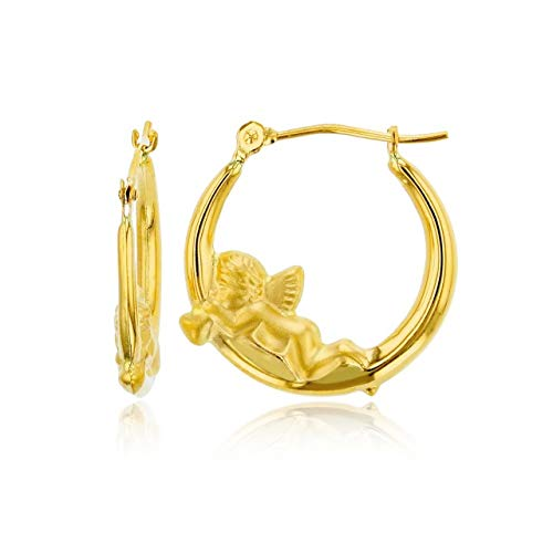 14K Yellow Gold 2.50mm Thick Cherub Hoop Earrings with Hinged Clasp | 2.50x20mm Hoop | Cherub Hoop Earrings | Solid Gold Earrings For Women and Girls (Pictures Of Cherubs)