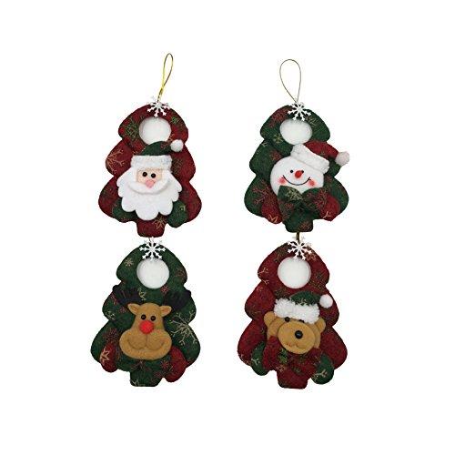Christmas Dolls Decorations Lucky Hanging Drop Tree Ornaments Cute Xmas Gift 4pcs/lot(Santa Claus,Snowman,Bear,Deer) (Style b)