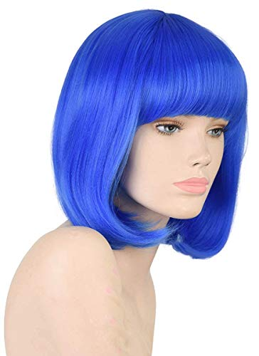 Daiqi Light Blue Colored Short Bob Wig with Bangs for Women 12'' Heat Resistant Synthetic Straight Wigs with Bangs Halloween Cosplay Party Wig Natural As Real Hair (Blue)]()
