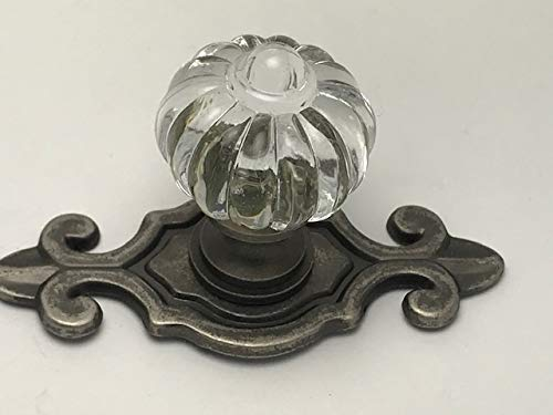 Sonoma Cabinet Hardware Roman Knob Antique Pewter with fleur-de-lis Backplate Solid Brass (Pewter Antique Backplate Finish)