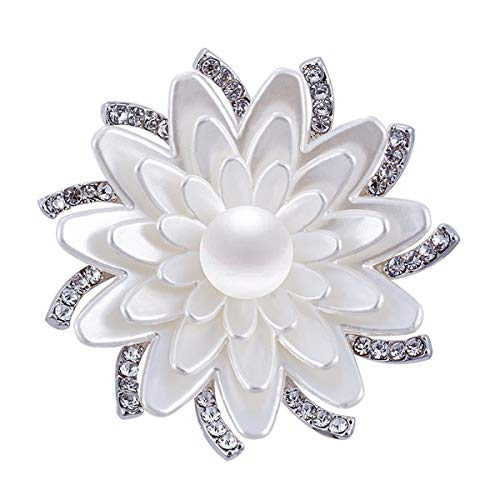 Merdia Floral Brooch Pin White Lotus Flower Brooches Simulated Crystal Corsage Brooch ()