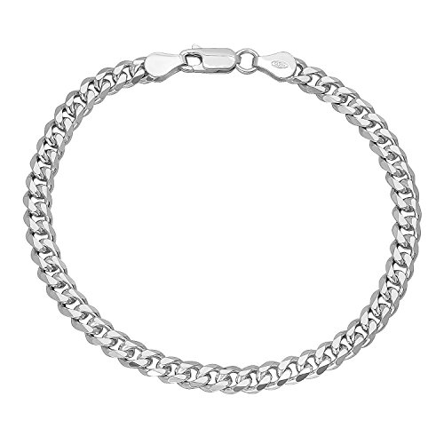 NYC Sterling Men's 5mm Solid Sterling Silver .925 Curb Link Chain Necklace, Made in Italy (8) ()