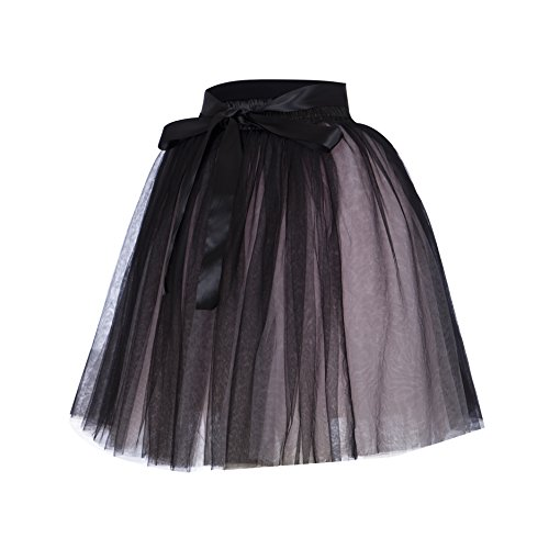 Lady's Princess Tulle Skirt Midi Knee Length Pleated Tutu Skirts for Prom Party(Black & -