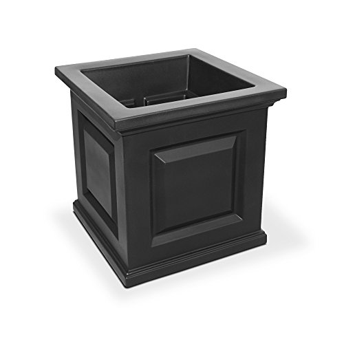 Mayne 5865-B Nantucket Polyethylene Planter, 16'' x 16'', Black by Mayne