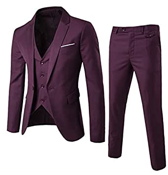 Michealboy Men Suit One Button Slim Fit 3 Piece Suit for Men Purple Casual/Wedding Party/Tuxedo