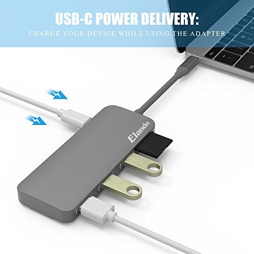 Elando USB-C Hub, Aluminum USB Type-C Hub with 4K HDMI, USB-C Power Delivery, USB 3.0, USB 2.0, Audio Jack and SD/TF Card Reader for MacBook Pro 2017 and Type-C Laptops by Elando (Image #3)