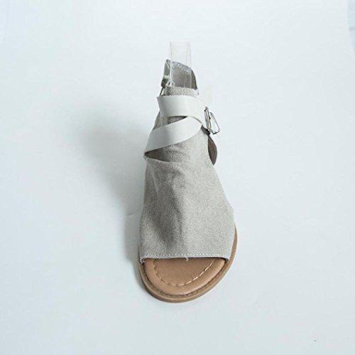 Transer Ladies Leisure Flat Sandals- Women Ankle Strap Sandals Comfy Slippers Shoes Beige ClrqInCA