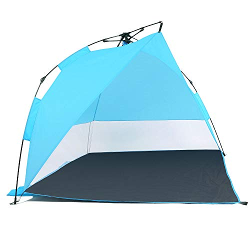 Odoland Beach Tent, Beach Tent Sun Shelter Umbrella Outdoor Sun Shelter for 2-3 Persons, Waterproof & Portable Sun Shade Instant Tent for Camping, Hiking & Fishing with Extra 4 Tent Pegs