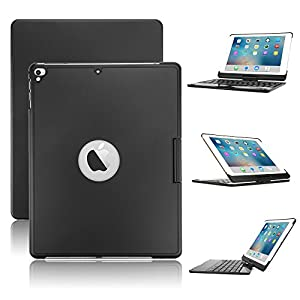 New iPad 9.7/iPad Pro 9.7/iPad Air Keyboard Case,Boriyuan 7 Color Backlit Bluetooth Keyboard Case Folio Smart 360 Rotate Stand Keyboard Cover for iPad Air/Air 2/iPad Pro 9.7 and iPad 9.7(Black)