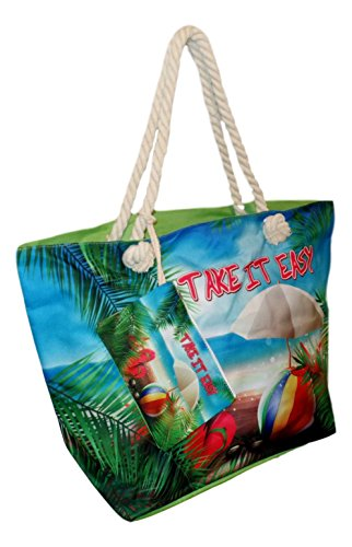 Tropical Print Beach Bag Tote with Pouch (Tropical - Take it Easy)