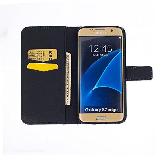 Samsung Galaxy S7 Edge Hülle Leder,Galaxy S7 Edge Hülle Anime,Samsung Galaxy S7 Edge Kunstleder Ledertasche Schutzhülle Case Tasche,EMAXELERS Rosa Bär Muster PU Leder Brieftasche Hülle Wallet Case Fli Butterfly 7