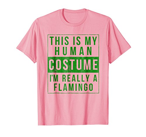 Flamingo Costume Halloween Shirt Funny Easy for kids adults ()