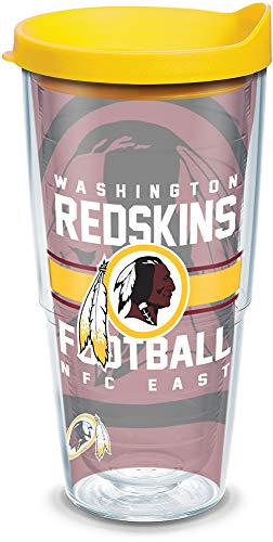 Tervis 1181975 NFL Washington Redskins Gridiron Tumbler with Wrap and Yellow Lid 24oz, Clear