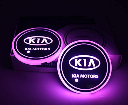 2pcs LED Car Cup Holder Lights for KIA LED Interior Atmosphere Lamp KIA 7 Colors Changing USB Charging Mat Luminescent Cup Pad