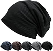 LULULY Slouch Beanie Hat for Man Knit Fabric Hat Breathable & Stretchy Skull