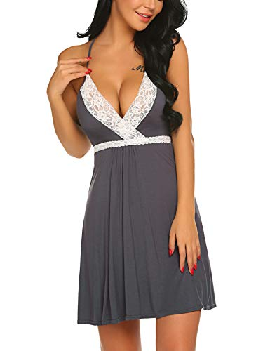 Hotouch Womens Sleepwear Chemise Nightgown Full Slip Lace Lounge Dress Gray ()