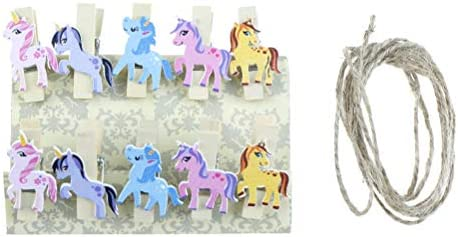 10pcs Unicorn Wooden Diy Photo Clips Handmade Cartoon Unicorn Wood Photo Clip Unicorn Decor Supplies Desk Accessories & Organizer