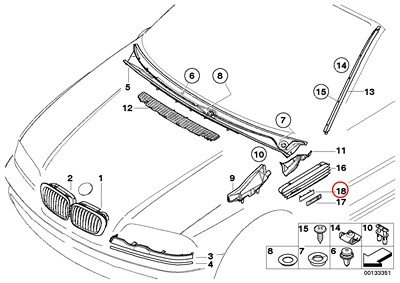 BMW Genuine Exterior Trim Grill Emblem With Supporting Plate M3 M3
