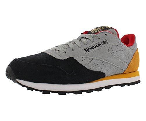 Reebok Men's CL Leather INT OP Classic Shoe, Flat Grey/Black/Collegiate Gold/Red Rush, 8.5 M US - Reebok Classic Black Gold