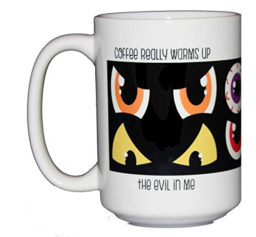 (Coffee Warms Up the Evil in Me - Funny Coffee Mugs with Dark Humor for Halloween or Any)