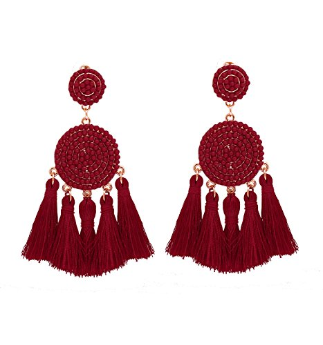 XOCARTIGE Tassel Dangle Earrings for Women Beaded Thread Fringe Drop Earrings Boho Statement Stud Earring for Girls (Wine ()