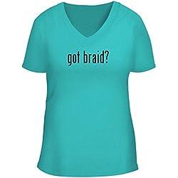 BH Cool Designs got Braid? - Cute Women's V Neck Graphic Tee, Aqua, XX-Large