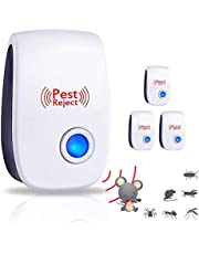 Eletronic Ultrasonic Pest Repeller Plug in Mosquito Mice ants Roaches Spiders Bugs Flies Insects Rodents-No Traps Poison & Sprayers (4 Packs, UK Plug)