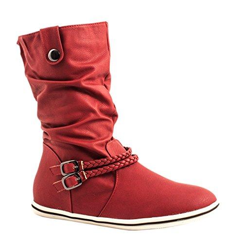 Elara - Botas plisadas Mujer Rojo - rojo