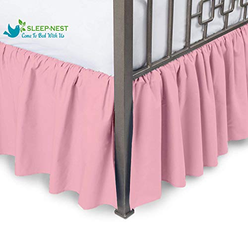 Sleep-Nest Hotel Quality 600 TC Natural Cotton Full Size 1-Pcs Split Corner Dust Ruffle Bed Skirt 18 Inch Drop Length Easy Fit, Wrinkle & Fade Resistant, Baby Pink Solid