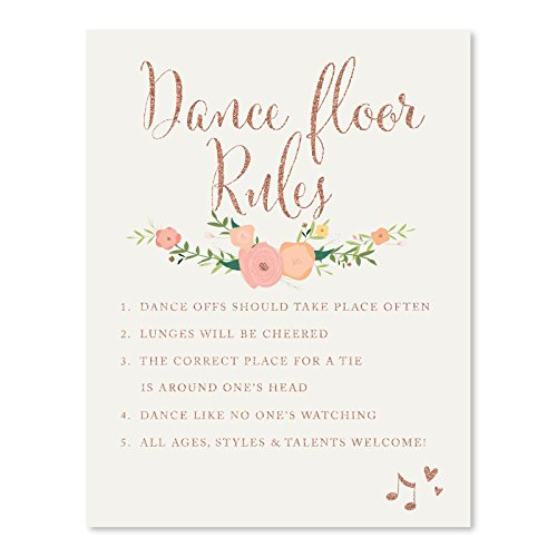 Andaz Press Wedding Party Signs, Faux Rose Gold Glitter with Florals, 8.5x11-inch, Dance Floor Rules, 1-Pack, Colored Decorations
