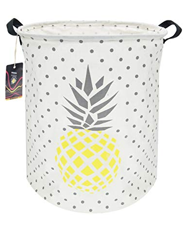 (HKEC 19.7'' Waterproof Foldable Storage Bin, Dirty Clothes Laundry Basket, Canvas Organizer Basket for Laundry Hamper, Toy Bins, Gift Baskets, Bedroom, Clothes, Baby Hamper(Yellow and Gray Pineapple))