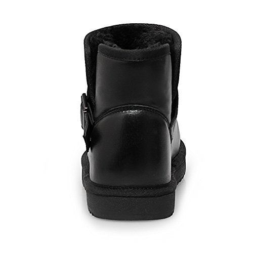 AmoonyFashion Buckle Womens and Low Sole Closed With Boots Heels Toe Round Toe Black Slipping rr1fw7