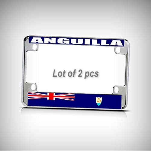 Anguilla Bar - Set of 2 Pcs - Anguilla Flag Metal Motorcycle Bike Tag Holder License Plate Frame Decorative Border