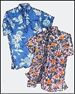 Mens Hawaiian Pullover Or Button Front Placket Aloha Shirt Sewing Pattern 210