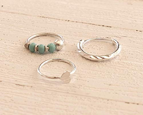 8 Mm Turquoise Heart - Set Sterling Silver Hoops, 10mm Diamond cut Hoop Earring, 8mm Turquoise beaded Hoop, 8mm Heart Nose ring, Helix, Cartilage