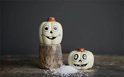 (Halloween Jack O Lantern Salt and Pepper Shaker White)