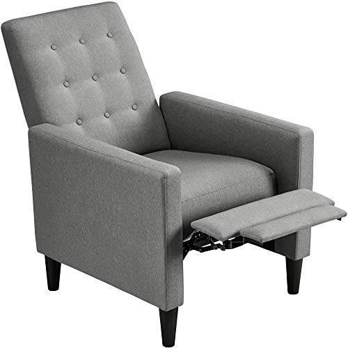 Topeakmart Mid-Century Modern Fabric Recliner Modern Tufted Reclining Single Sofa for Living Room Padded Cushion Home Theater Seat Grey