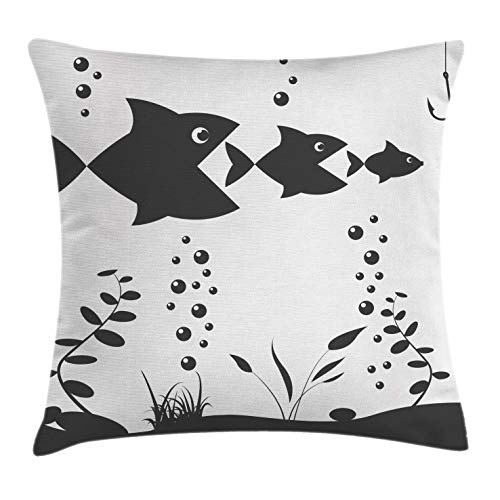 Fishing Throw Pillow Cushion Cover by Ambesonne, Big Fish Eats the Little Theme with Bubbles Coral Reef and Hook, Decorative Square Accent Pillow Case, 24 X 24 Inches, Charcoal Grey and Coconut
