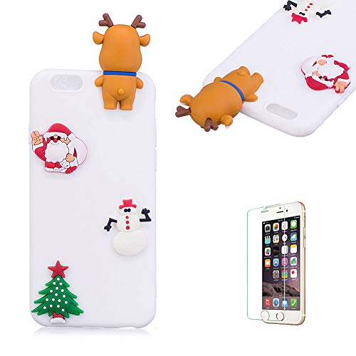 Cute Cartoon Case For iPhone 6/iPhone 6S [with Free Screen Protector],Funyee Stylish 3D Christmas Deer Design Ultra Thin Soft TPU Silicone Case for iPhone 6/iPhone 6S 4.7 inch,White -