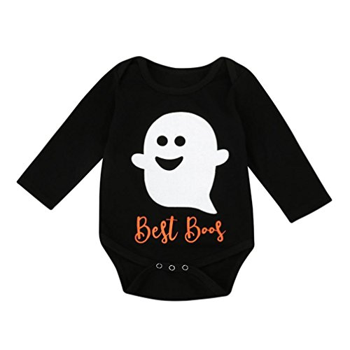 Halloween Baby's Clothes, Boomboom Baby Boy Girl Halloween Little Devil Long Sleeve Romper Jumpsuit (12M, Black)