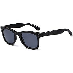 CAXMAN Unisex's Polarized Classic Wayfarer Sunglasses TR90 Unbreakable Frame for Men Women Sunglasses, Black Frame Black Lens, Small Size 51mm