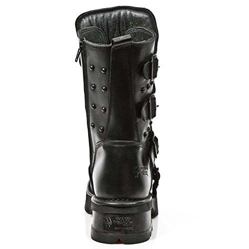 New Rock Herren Oxido Militar Schwarze Leder stiefel M.1619-S8 Schwarz