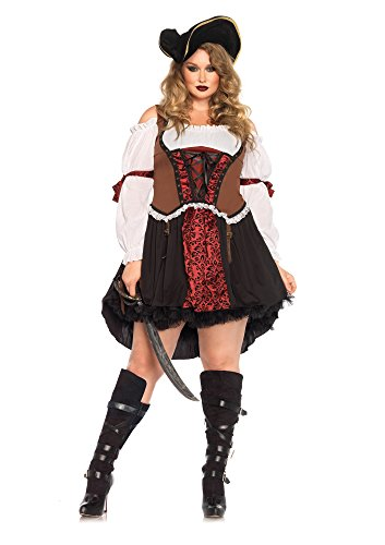 Leg Avenue Women's Plus-Size Ruthless Pirate Wench Costume, Multi, 3X