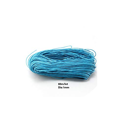 Ropes 60 Meters/lot,1MM Diameter Thread Cotton Waxed Cord String Strap Necklace Rope Bead Jewelry findings for DIY Bracelet,Turquoise
