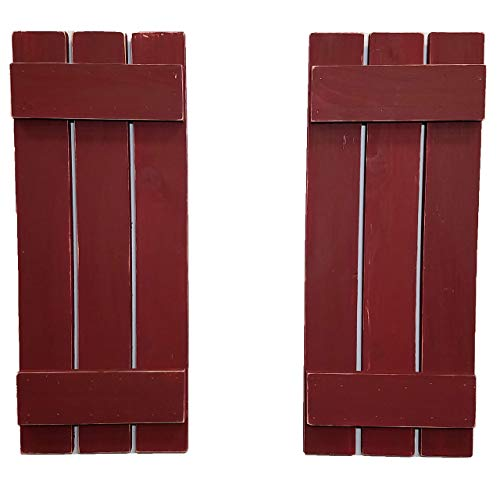 Shutter Pine - Countryside Rustic Pair of Decorative Board and Batten Shutters Available in 20 Colors - Shown in Sundried Tomato Red - Choose from 4 sizes 40