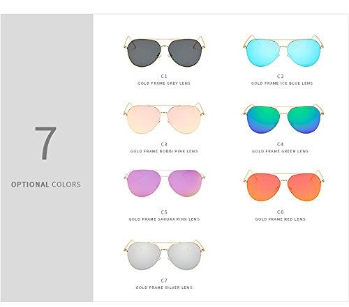 Color Mujer Marco Gafas Moda Manera Adultos de MXNET Sol Sol Espejo C6 de Gafas Grande de C1 UV400 clásica para la Gafas de Gafas Sol para Grandes de Hombre de wXqF6p